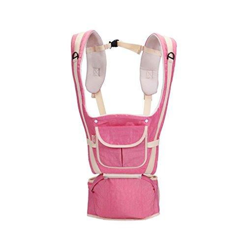 ZHAOJING Multifunktionale Baby Hocker Bank Baby Sommer Schultern Baby Sling Front Halten Mehrzweck Vier Jahreszeiten Baby Carrier ( Farbe : Pink ) (Schnalle Schulter Riemen Reibung)