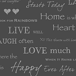 I Love Wallpaper Shimmer Wall Quotes Wallpaper Black / Silver
