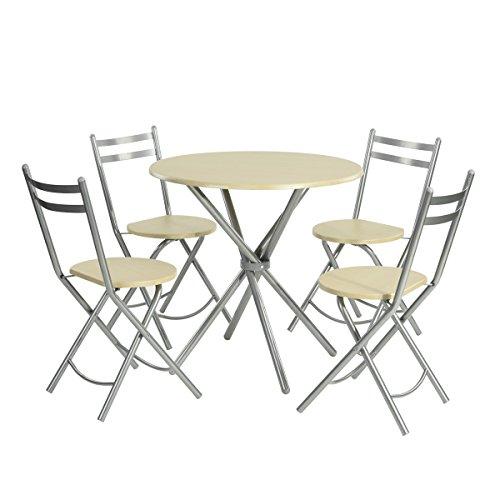 5 pcs de cuisine Table de salle à manger, table basse ronde salle à manger, meubles en bois et métal, Home Ensemble de meubles de cuisine, table de salle à manger et chaises pliantes