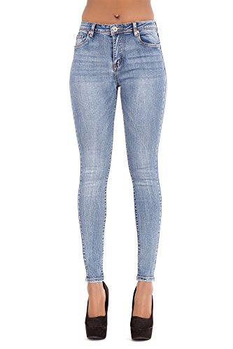 Pantaloni attillati skinny attillati da donna a vita media blu lavaggio acido jeans slim