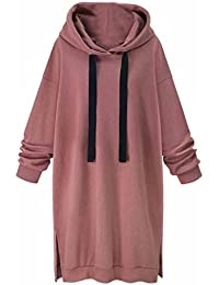 Longra Damen Mode Hoodie Kleid Blusenkleider Kapuzenpullover Frauen Langarm  Herbst Winter Oversize Sport Casua Freizeitkleid Sweatshirt cbd6d84c47