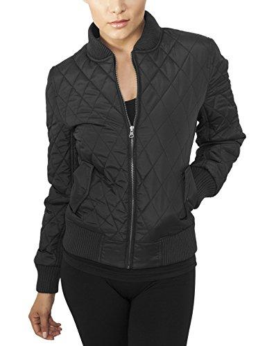 Urban Classics Damen Jacke Ladies Diamond Quilt Nylon Jacket, Schwarz (Black 7), 36 (Herstellergröße: S)