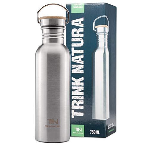 Edelstahl Trinkflasche 750ml Bambusdeckel, BPA frei,für Outdoor,Wandern, Sport auslaufsicher