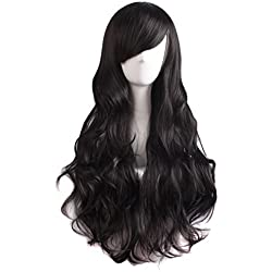 MapofBeauty 70cm/28 pulgada Onda larga peluca de pelo rizado completo para la Mujer larga Pelucas (negro)