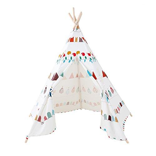 Kinder Tipi Zelt -5 ' Groß Großes handgefertigtes Baumwoll-Canvas-Spielzelt, Mit entzückenden Cartoon-Muster, Kinder Spielhaus Spielzeug Geschenk für Kinder Baby Kleinkinder wenig Junge Prinzessin Mädchen (weiß)