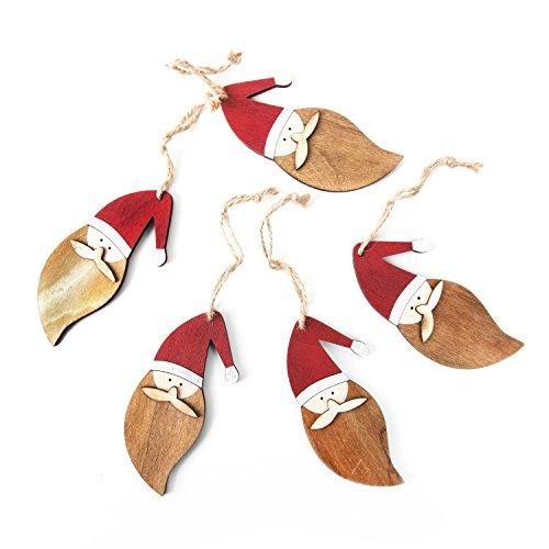 5 Stück rot weiß braun natürliche NIKOLAUS SANTA (11 cm) Holz-Anhänger Weihnachtsanhänger zum Aufhängen und weihnachtlich Dekorieren - Christbaumanhänger Baumschmuck Weihnachtsdeko natürlich