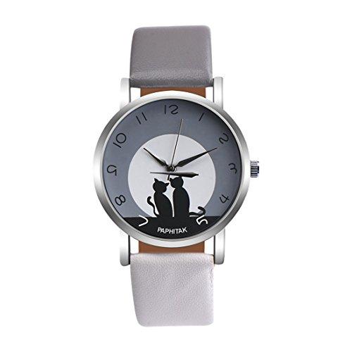 Souarts Damen Armbanduhr Einfach Stil Katze Muster Analoge Strass Quarz Uhr mit Batterie Weiß (Grau/Weiss)