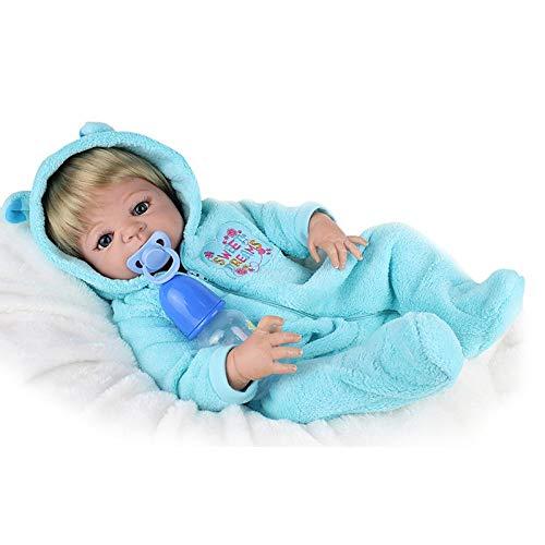 HSDDA Puppenkissen 22 Zoll Simulation Wiedergeburt Puppe Baby Weiche Junge Geburtstagsgeschenk Reborn Körper Silikon Vinyl Puppe Volle Lebendige Baby Spielzeug Cartoon-Plüschkissen (Silikon-körper Reborn Puppen Baby)