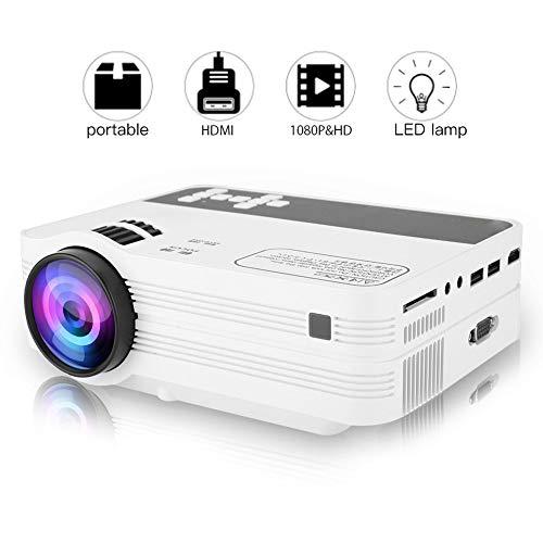 Bewinner Tragbarer Mini-Projektor 2000 Lumen Videoprojektor Full HD 1920x1080 Heimprojektor für Android 6.0 WiFi Bluetooth LED TV Mini Video Beamer für Home Office(EU) - 1.7 G Speicher