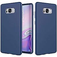 NiaCoCo Compatible con Samsung Galaxy S8 Silicona líquida Ultradelgado a Prueba de Choques Anti-Rasguños Carcasa de Telefono Estuche Protector+1PCS Protector de Pantalla-(Azul)
