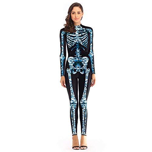 GLXQIJ Frauen Kostüme Mädchen Skeleton Skin Anzug Knochen Halloween Kostüm, Printed Bodysuit - Für Erwachsenen Knochen Bodysuit Kostüm