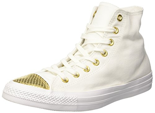 Converse Damen All Star Metallic Toecap Sneakers, Weiß (White/Gold/White), 37.5 EU
