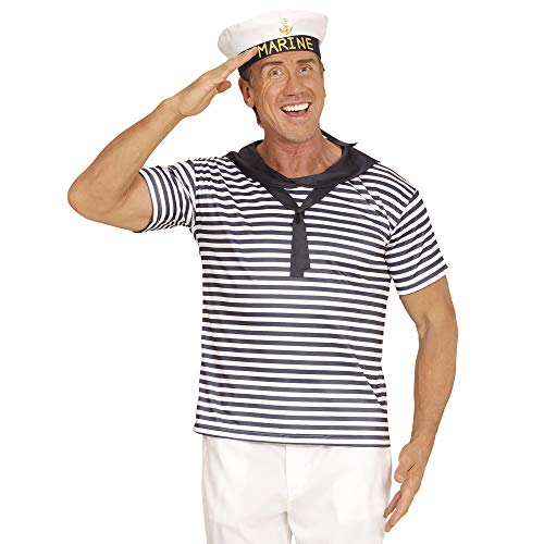Herren Marine Seemann Kostüm - Widmann 03122 Erwachsenenkostüm Marine Set, Shirt und Hut