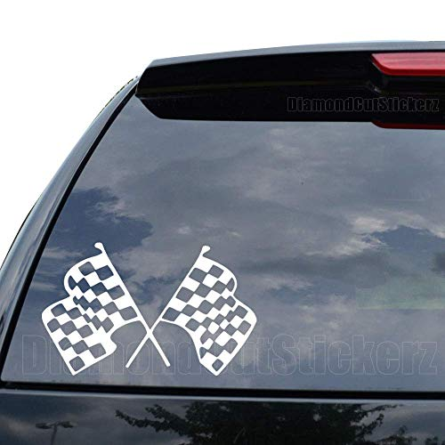 DiamondCutStickerz Racing Checkered Flag NASCAR INDY Decal Sticker Car Truck Motorcycle Window Ipad Laptop Wall Decor - Size (09 inch / 23 cm Wide) - Color (Gloss White) -