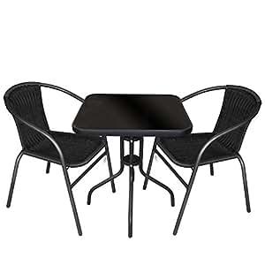 Multistore 2002 3tlg. Gartengarnitur Balkonmöbel Terrassenmöbel Set Sitzgruppe Poly-Rattan Stapelstuhl Bistrotisch Schwarze Tischglasplatte 60x60cm