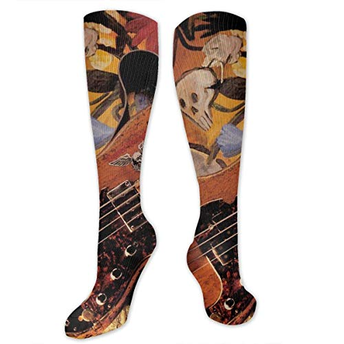 Jxrodekz Ancient Shabby Guitar Women&Men Socks Dress Socks Length 19.7in/Width 3.4in Polyester Material Knee High Socks Girls Socks Mid Strümpfe Personality Socks
