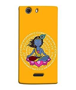 PrintVisa Designer Back Case Cover for Micromax Canvas 5 E481 (Hare Krishna Hare Rama Lotus Peacock Feather)