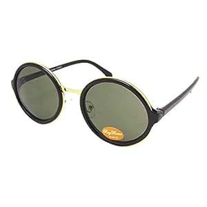 Chic-Net Sonnenbrille rund dick Vintage 400UV Metallsteg golden John Lennon Stil grün t4kRvJM