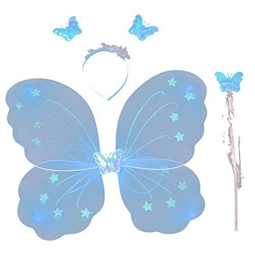 rinzessin Schmetterlingsflügel Stab Stirnband 3 pc Spiel Kostüm Halloween-Partei Rolle 4038cm gesetzt Eine Größe Blau ()