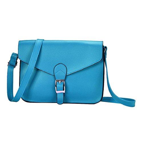 Sannysis® Imitación de Las Mujeres del Bolso de Cuero del Hombro (Azul)