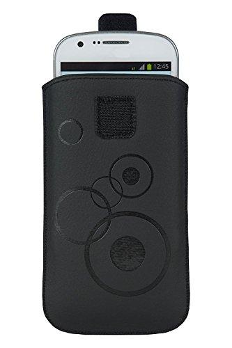 Handytasche Circle schwarz geeignet für Kodak Ektra - Handy Tasche Schutz Hülle Slim Case Cover Etui mit Klettverschluss
