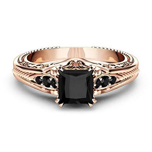 Überzogener Quadratischer Diamantring Aus 18 Karat Roségold, Luxuriöser Verlobungsring Aus Schwarzem Diamant, Paar-Ring,Schwarz,Nein.6 (Schwarz Diamant-verlobungsringe,)