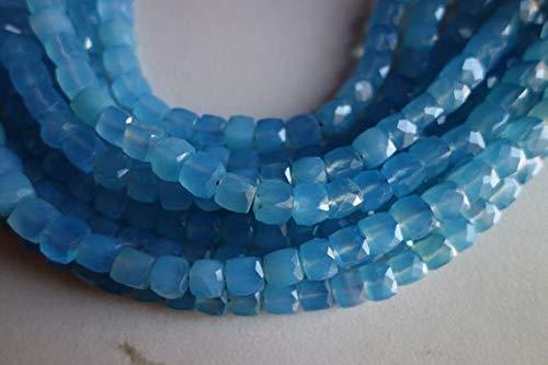 LOVEKUSH 50% Off Gemstone Jewellery 10 inch Natural blue chalcedony faceted box single strand beads 8mm-7mm Code:- RADE-39841 (10-zoll-single-box)