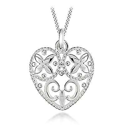 """Tuscany Silver Sterling Silver Filigree Heart Pendant on Adjustable Curb Chain Necklace 41cm/16""""-46cm/18"""""""