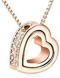 QUADIVA C! Collar Corazón para Mujer Collar con Colgante Corazón (color: oro rosa, chapado en oro) adornado con cristales de Swarovski®