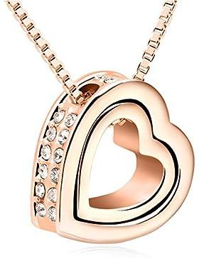 QUADIVA C! Damen Halskette Herzkette Kette mit Anhänger Herz (Farbe: rosegold) verziert mit funkelnden Kristallen...