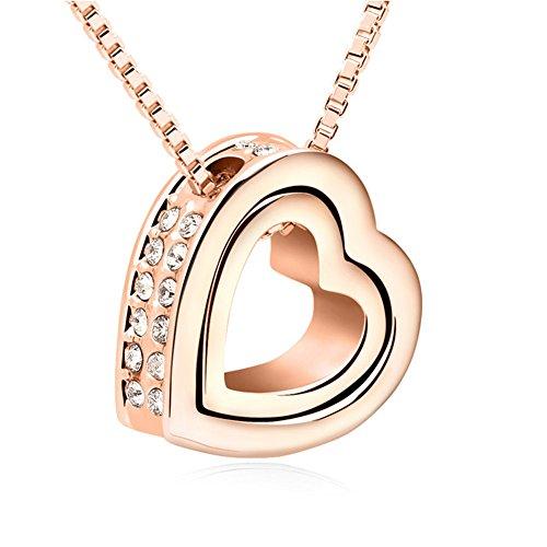 QUADIVA-C-Damen-Halskette-Kette-mit-Anhnger-Herz-Farbe-rosegold-verziert-mit-funkelnden-Kristallen-von-Swarovski
