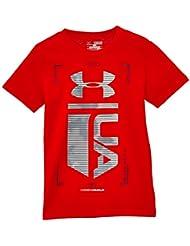 Under Armour Time Gitd - Camiseta de manga corta para chicos naranja rojo/azul oscuro Talla:small