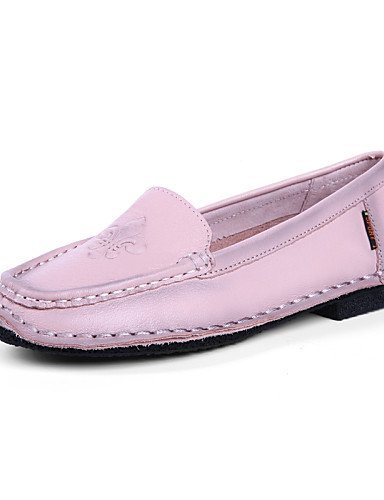 ShangYi Scarpe Donna - Mocassini - Casual - Punta arrotondata - Piatto - Di pelle - Marrone / Rosa / Borgogna Pink