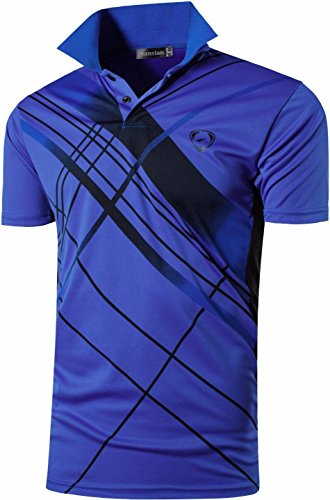 jeansian Herren Summer Sportswear Wicking Breathable Short Sleeve Quick Dry Polo T-Shirts Wicking Breathable Running Training Sports Tee Tops LSL195 LSL226_Blue