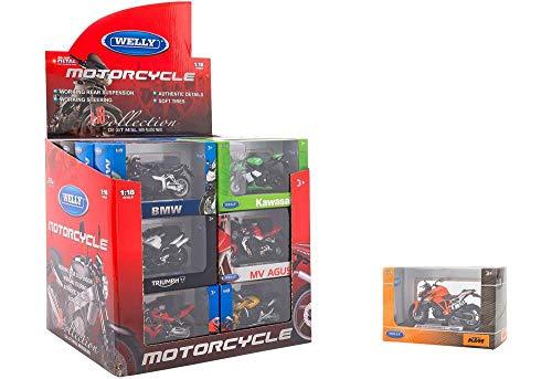 GLOBO- 1:18 Licensed Asst Street Motorbikes 24 Piezas/D-Box (38511), (1)