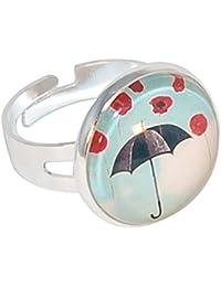 Créative perlas-Anillo para lavamanos redondo Paraguas, color azul cielo y negro-,