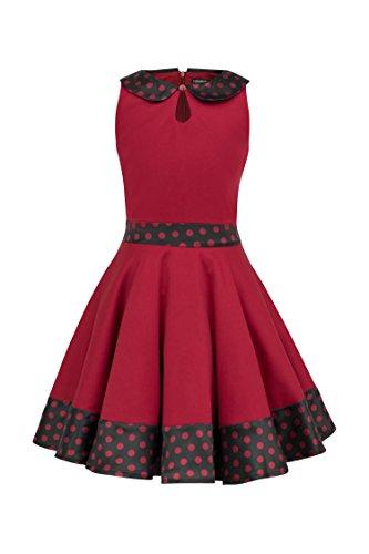 BlackButterfly Kinder 'Zoey' Vintage Polka-Dots Kleid im 50er-Jahre-Stil (Rot, 7-8 J / 122-128) (Polka Kleid 50er Jahre Dot)