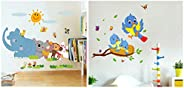 Decals Design 'Jungle Cartoon Cute Animals' (PVC Vinyl, 60 cm x 90 cm, Multicolour) & 'Happy B
