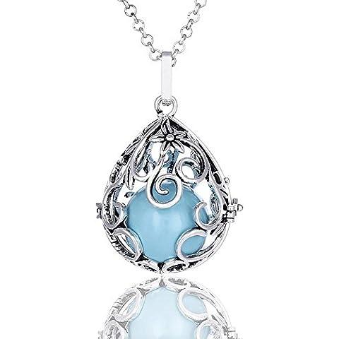 Vintage collar con colgante de gotas de agua México de la bola de bola jaula plata camafeo colgante collar - QYZN0027, Color 02