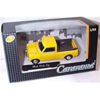 cararama yellow mini open back pick up vehicle 1:43 scale diecast model
