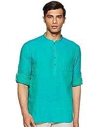 Manthan Men's Banded Collar Short Kurta