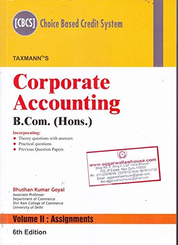 Corporate Accounting (B.Com. Hons)(CBCS) (Set of 2 Volumes)(6th Edition January 2019)