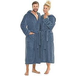 Bademantel mit Kapuze für Damen und Herren, weich und super flauschig, Coral-Fleece, Florida CelinaTex Saunamantel XXL indigo blau 0001283