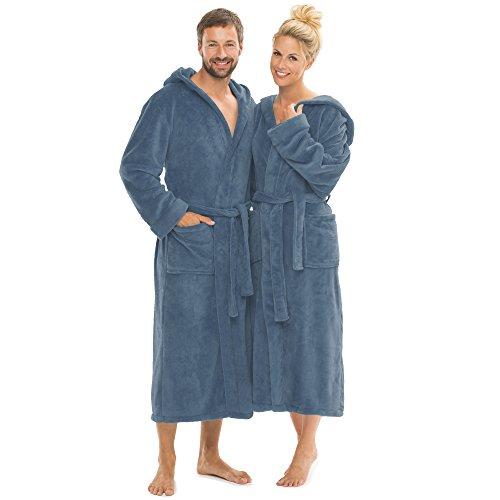 CelinaTex Bademantel mit Kapuze für Damen und Herren, Saunamantel weich und flauschig, Coral-Fleece Morgenmantel Florida S indigo blau 0001279