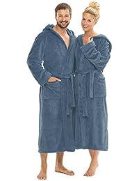 Albornoz con capucha suave para mujer y hombre, tallas de la XS a la XXXL, poliéster, Indigo-blau, XXXL