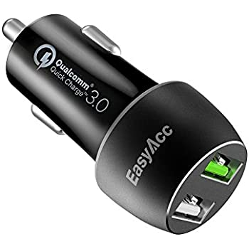 EasyAcc Quick Charge 3.0 30W 2-Port Car Charger for Galaxy S8/S7/S6/Edge/Plus, Note 5/4 and iSmart for iPhone 7/6s/Plus, iPad Mini and More