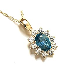 9ct Gold London Blue Topaz and Cubic Zirconia cluster Pendant and chain