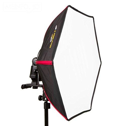 SMDV Firefly Pro Beauty Diffusore soft box per flash, superficie luminosa Ø 55 cm, p.es. per SB-910 SB-900 SB-800, 580EX 430EX, Di866 Di622 ecc., colore: Nero/Rosso