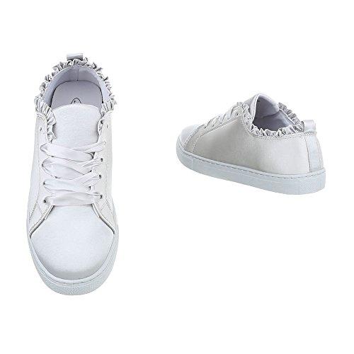Ital-Design Sneakers Low Damenschuhe Sneakers Low Sneakers Schnürsenkel Freizeitschuhe Hellgrau