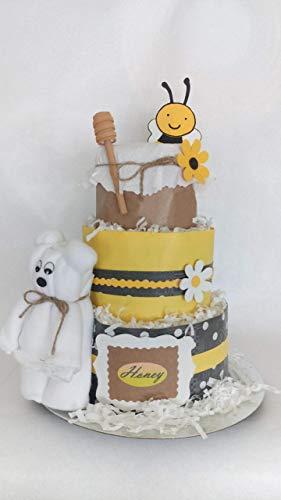 Tarta pañales baby honey abeja. 3 pisos